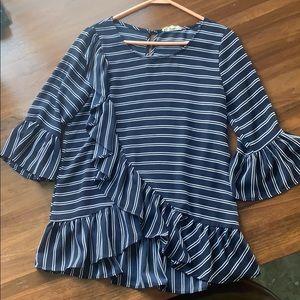 Flounced striped navy blouse